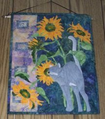 #6-878 Cat and sunflowers wall hanging