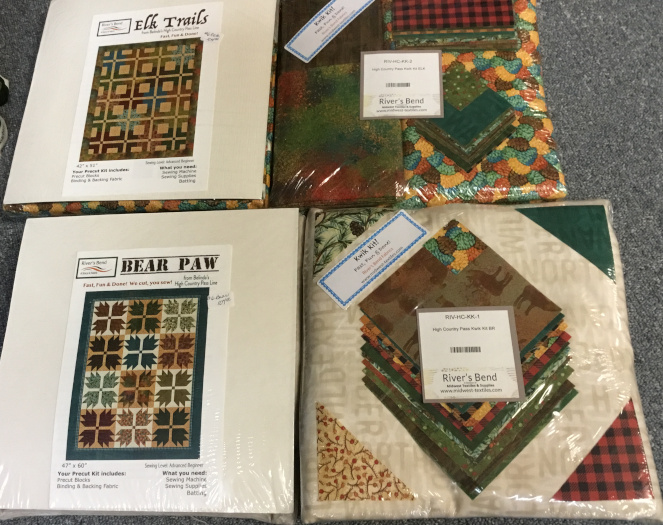 Elk Trails and Bear Paw precut quilt kits