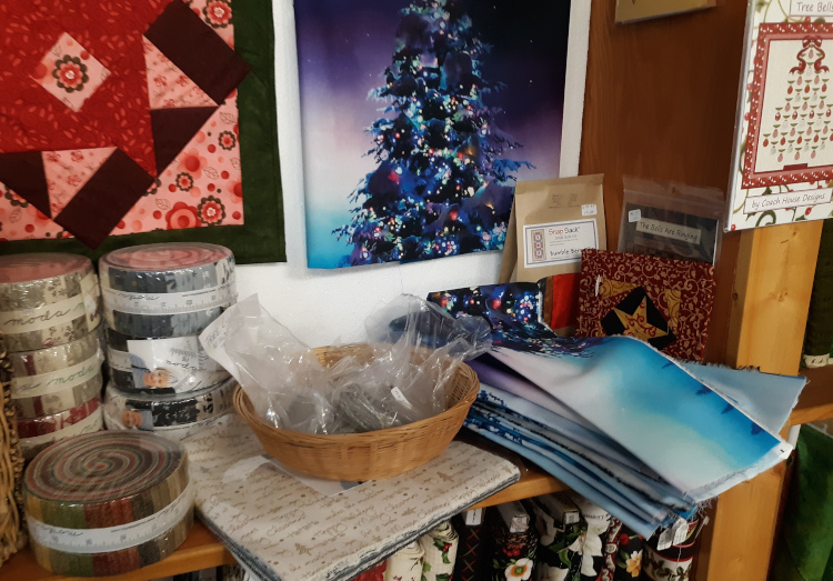 Christmas precut strip rolls and a tree panel